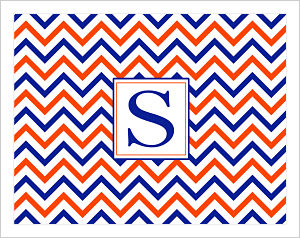 Note Cards - Chevron Stripes In University of Florida Colors (Option 2-Initial)