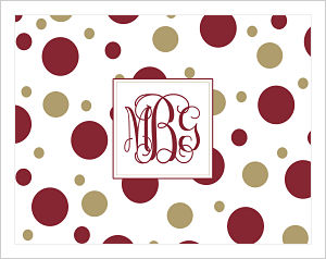 Note Cards - Fun Polka Dots In FSU (Florida State Seminoles) Colors  (Option 2-w/Monogram)
