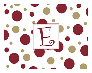 Note Cards - Fun Polka Dots In FSU (Florida State Seminoles) Colors (Option 1-Initial)