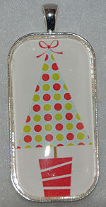 "Glass Pendant & Necklace - 1""x2"" Oblong - Christmas Tree"