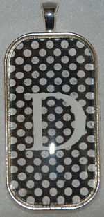 "Glass Pendant &  Necklace - 1""x2"" Oblong -  Black Polka Dot Background and Initial"