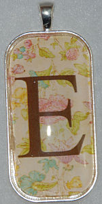 "Glass Pendant & Necklace - 1"" x 2"" Oblong - Floral Background and Initial"