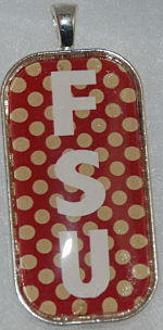 "Glass Pendant & Necklace - 1"" x 2"" Oblong FSU/Polka Dots"