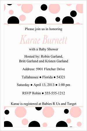 Baby Shower Invitations-Fun Pink and Black Polka Dots (Option 3)