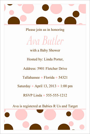 Baby Shower Invitations-Fun Pink and Brown Polka Dots (Option 2)
