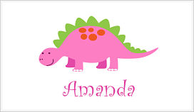 Enclosure Cards - Girly Pink Dinosaur