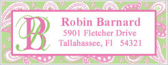 Address Labels - Pink and Green Paisley