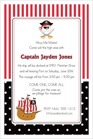 Kids Birthday Invitations-Ahoy Me Mates