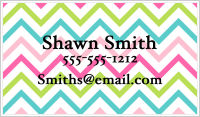 Calling Cards - Chevron Stripes (Rainbow Colors)
