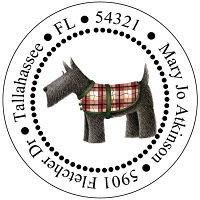Address Labels - Scottish Terrier - Option 2 (Round)