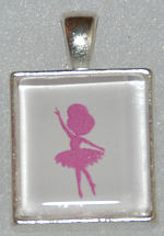 Glass Pendant & Necklace - Scrabble Size-Ballerina Dancer