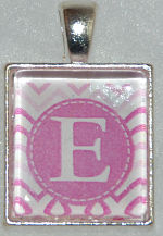 Glass Pendant & Necklace - Scrabble Size - Pink Chevron Stripe and Initial