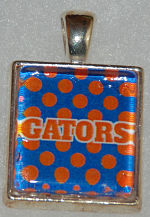 Glass Pendant & Necklace - Scrabble Size -Gators/Polka Dot