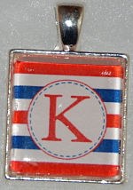 Glass Pendant & Necklace - Scrabble Size Red/White/Blue Stripes and Initial