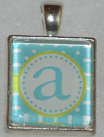 Glass Pendant & Necklace - Scrabble Size Blue Polka Dot and Initial