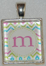 Glass Pendant & Necklace - Scrabble Size - Rainbow Color Chevron Stripe and Initial