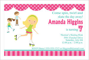 Kids Birthday Invitations-Roller Skate Party Girl