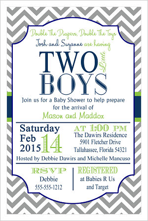 Baby Shower Invitations-Two Little Boys