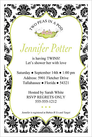 Baby Shower Invitations-Two Peas In A Pod