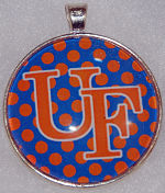 """Glass Pendant & Necklace - 1.5"""" Round UF with Polka Dot Background"""
