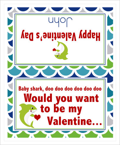 Valentine Bag Toppers (VBT) - Baby Shark