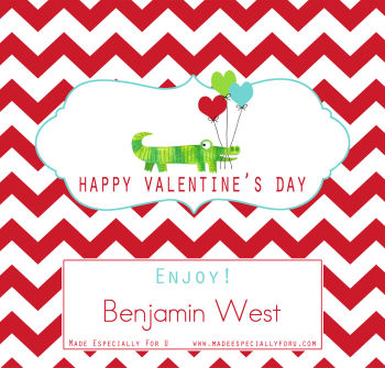 Valentine's Candy Bar Wrappers (VCB) - Gator and Valentine Balloons