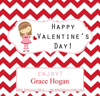 Valentine's Candy Bar Wrappers (VCB) - Little Girl and Heart