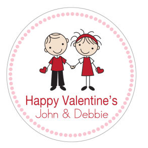 Valentine Tags and Stickers (VTS) - Couple with Hearts