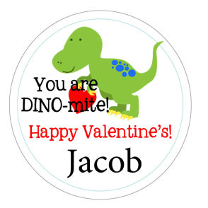Valentine Tags and Stickers (VTS) - You're DINO-mite!