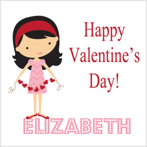 Valentine Tags and Stickers (VTS) - Girl With String Of Hearts