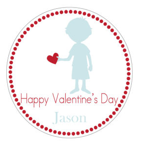 Valentine Tags and Stickers (VTS) - Little Boy Holding Heart