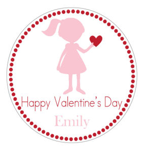 Valentine Tags and Stickers (VTS) - Little Girl Holding Heart