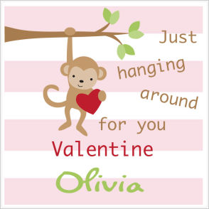 Valentine Tags and Stickers (VTS) - Just Hanging Around For You Valentine (Girls)