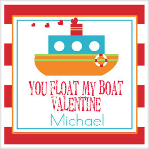 Valentine Tags and Stickers (VTS) - You Float My Boat Valentine