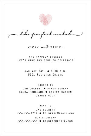 Wedding - Thumbprint Heart (Engagement Invitations)