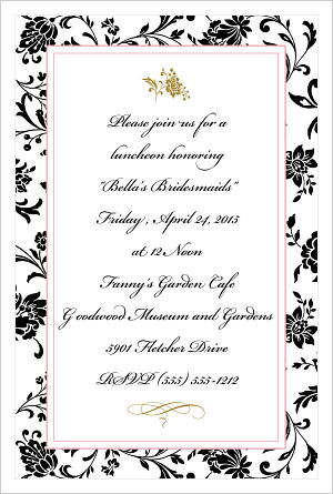 Wedding - Elegant Black Flowers/Bridesmaids Luncheon Invitations