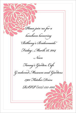 Wedding -  Fresh Flowers/Bridesmaids Luncheon Invitations