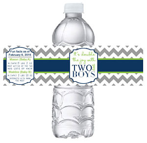 Water Bottle Labels - (Two Little Boys (Gray Chevron Stripe, Green and Navy)