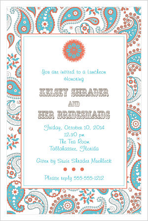 Wedding - Western Theme w/Paisley Background (Bridesmaids Luncheon Invitation)