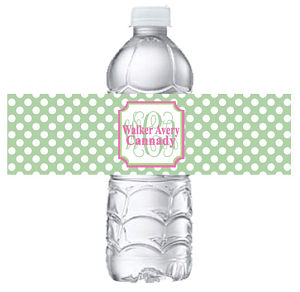 Water Bottle Labels - Green White Polka Dot with Monogram and Full Name