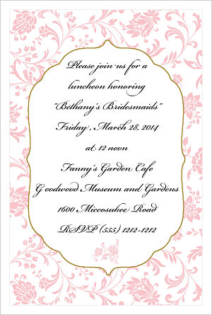 Wedding - Elegant Pink Flowers/Bridesmaids Luncheon Invitations