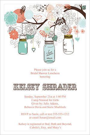 Wedding - Western Theme with Mason Jars Hanging From Tree/Bridal Shower Invitations