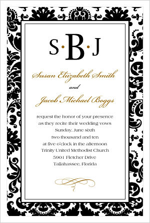 Wedding - Couples Monogram/Initials Wedding Invitation