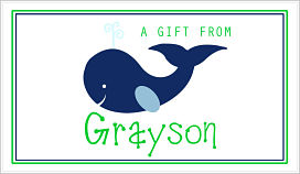 Enclosure Cards - Navy Blue Whale