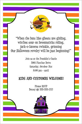 Halloween Party Invitations- Flying Witch