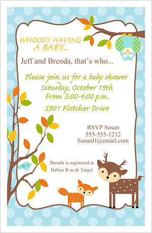 Baby Shower Invitations-Whimsical Woodland Animals