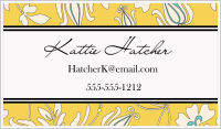 Calling Cards - Flower Silhouette Background (Yellow and Blue)